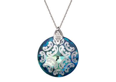 Přívěsek stříbrný Crystal Rose I - bermuda blue- 6008 46