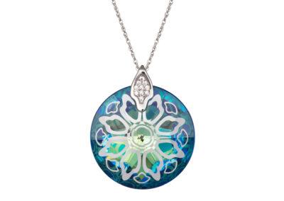 Přívěsek stříbrný Crystal Rose II - bermuda blue - 6010 46