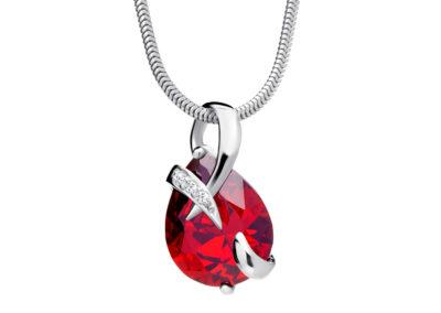 Přívěsek stříbrný Dainty s kubickou zirkonií Preciosa - červený - 5035 63