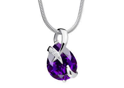 Přívěsek stříbrný Dainty s kubickou zirkonií Preciosa - fialový - 5035 64