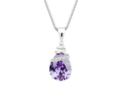 Přívěsek stříbrný Elegant s kubickou zirkonií Preciosa - fialový - 5026 56