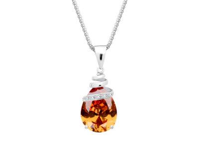 Přívěsek stříbrný Elegant s kubickou zirkonií Preciosa - oranžový - 5026 61