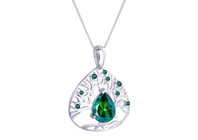 Přívěsek stříbrný Green Tree of Life s kubickou zirkonií Preciosa - 5220 66