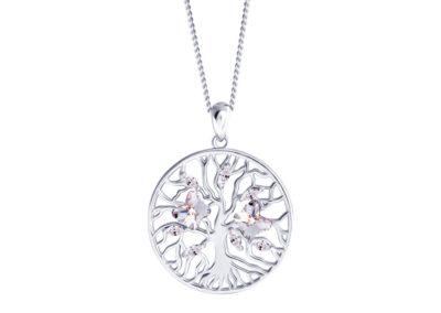 Přívěsek stříbrný Tree of Life, strom života, motýli s křišťálem Preciosa - 6072 00