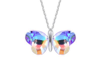 Přívěsek stříbrný Vanessa, motýl s českým křišťálem Preciosa - 6095 42