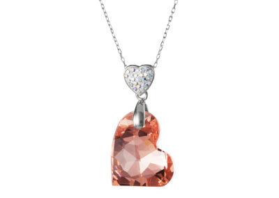 Přívěsek stříbrný Wild Heart, srdce s českým křišťálem Preciosa - 6819 49