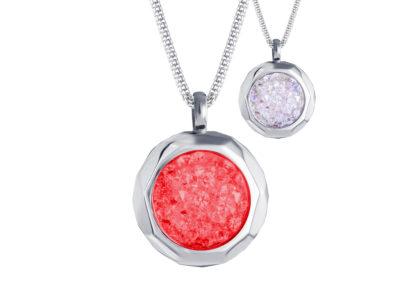 Přívěsek z chirurgické oceli Duo Colour s českým křišťálem Preciosa, červený, bílý - 7313 63