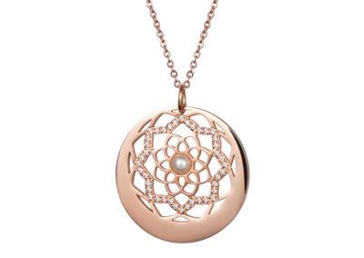 Přívěsek z chirurgické oceli Flower of Love s pravou říční perlou Preciosa, růžový - 7286P01