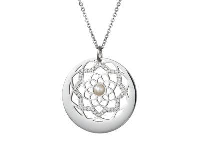 Přívěsek z chirurgické oceli Flower of Love s pravou říční perlou Preciosa, stříbrný - 7286 01