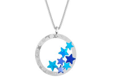 Přívěsek z chirurgické oceli Virgo, hvězdy s českým křišťálem Preciosa, modrý - 7340 67