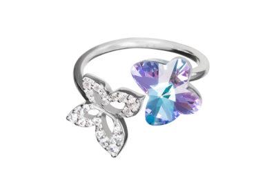 Prsten stříbrný Butterfly Harmony, motýli z českého křišťálu Preciosa - 6059 43