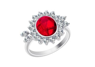 Prsten stříbrný Camellia s českým křišťálem a kubickou zirkonií Preciosa, červený - 6108 63