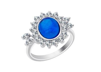Prsten stříbrný Camellia s českým křišťálem a kubickou zirkonií Preciosa - modrý - 6108 68