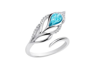 Prsten stříbrný Penna, pírko s českým křišťálem a kubickou zirkonií Preciosa - 6105 29