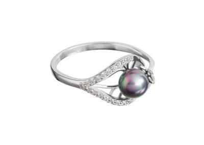 Prsten stříbrný Touch of Luxury s černou říční perlou Preciosa - 5211 20