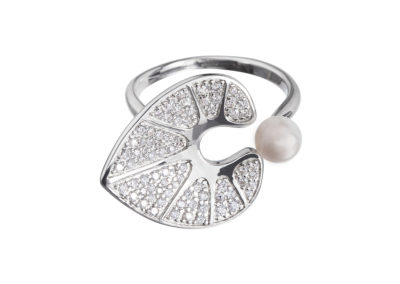 Prsten stříbrný White Water Lily s pravou říční perlou Preciosa - 5194 00